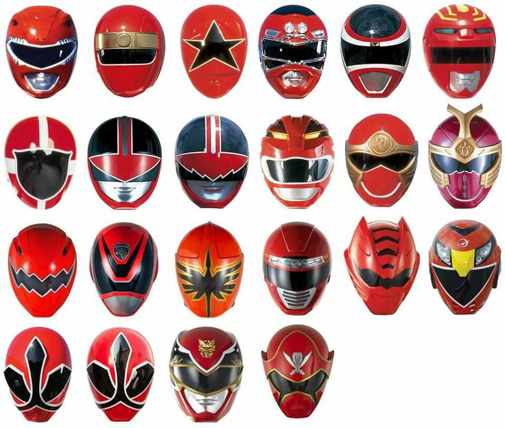 Red Rangers Helmets - MMPR onwards