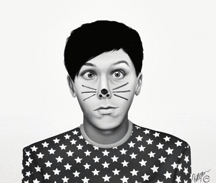 Drawing of AmazingPhil,Phil Lester,with his whiskers