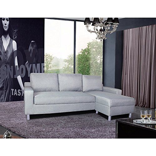 US Pride Furniture Kachy Fabric Convertible Sectional Sofa Bed Grey