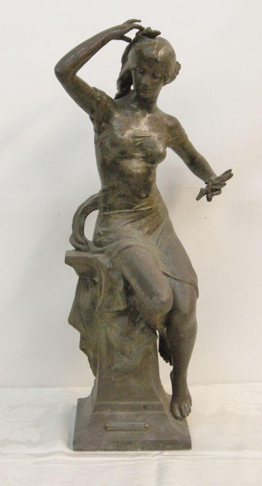"""Bronzed Allegorical Sculpture, """"Printemps"""", E. Drouot"""