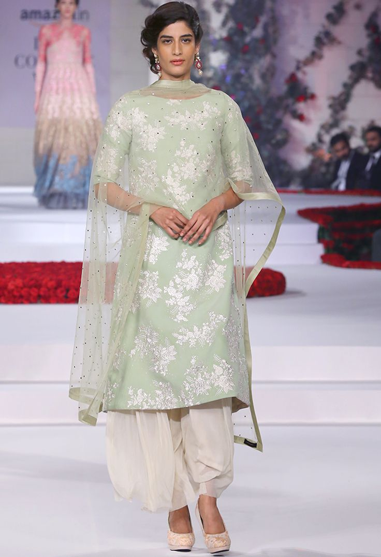 VARUN BAHL Pale green & ivory floral embroidered kurta set
