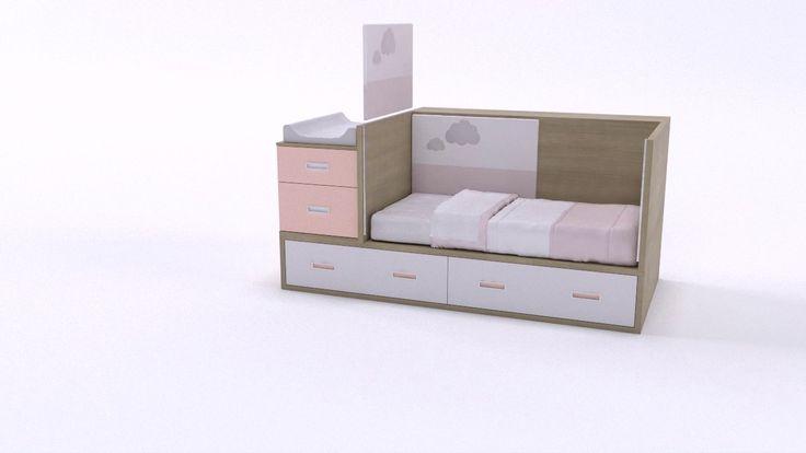 Idehábita - Cuna convertible en cama nido con cajones.
