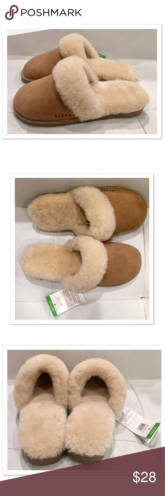 Acorn Shearling Slippers Genuine suede and sheepskin slippers. Size 10W tag inside slippers. Brand new. Never worn. Acorn Shoes Slippers