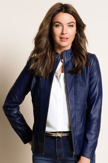 Capture Leather Pintuck Jacket - Navy leather 149259 $179