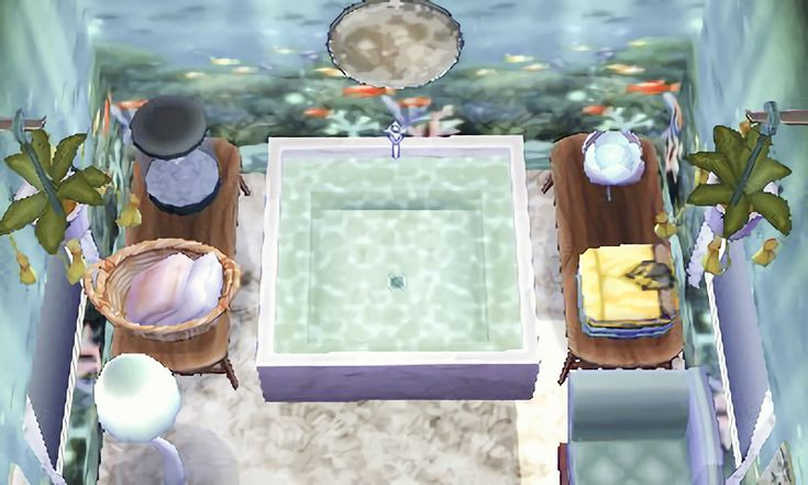 """acnl-backintown: """" catvillecrossing: """" Klaus' ancient bathhouse 0290-7785-675 """" omg which wallpaper did you use?? """" This is the Underwater Wallpaper- unlocked by designing the Restaurant, or..."""