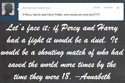 BEST ANSWER EVER!!! Potters vs Jackson!    Demigods Answer