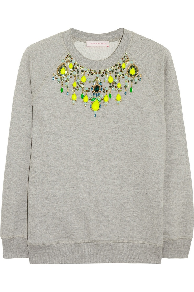 would be such a great DIY: Matthew Williamson | Embellished cotton-jersey sweatshirt | NET-A-PORTER.COM