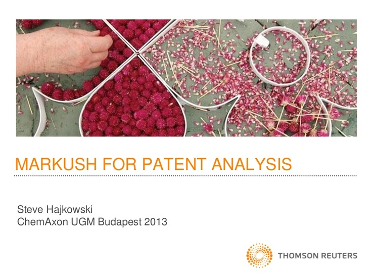 EUGM 2013 - Steve Hajkowski (Thomson Reuters): Patent analytics - what can Markush data tell us?