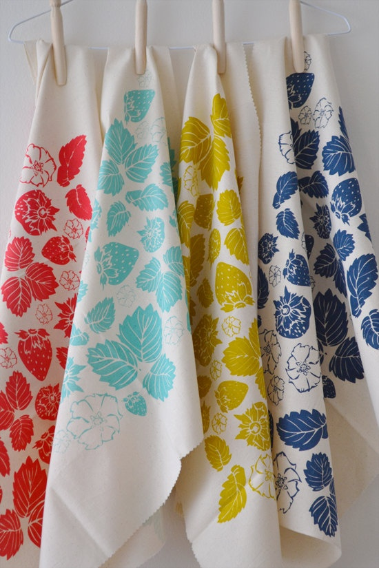 nice colorway for project-  STRAWBERRY FIELD hand printed fabric pack of 3 by BlueberryAsh, $25.00
