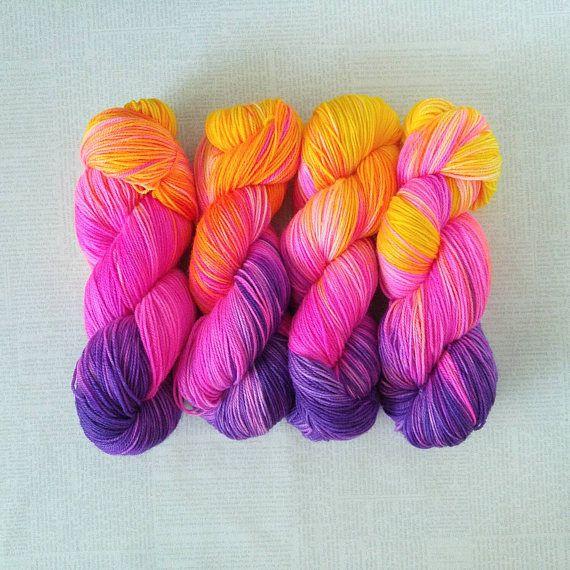 Hand Dyed Yarn - JEM GIRL - Truly Outrageous Neon Superwash Merino/Nylon Fingering Weight Yarn
