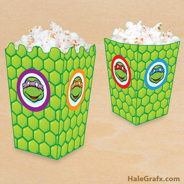 FREE Printable Ninja Turtle Popcorn Box