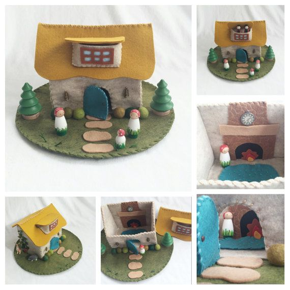 Thatched Roof Cottage Playscape Play Mat felt pretend play open-ended storytelling fantasy storybook fairytale Dollhouse wool mixed media