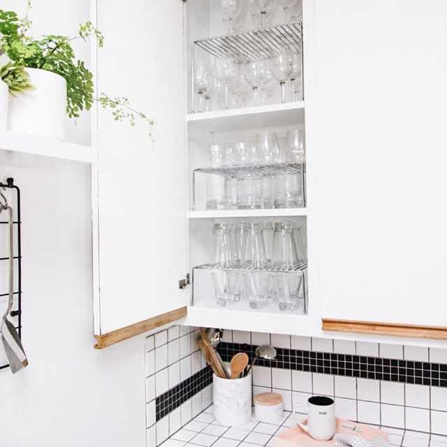 Kitchen Tip Maximize Space And Double Your Real Estate With Shelf Risers In Cabinets And Shallow Shelves Kitchen Hacks Organization Cabinet Shallow Shelves