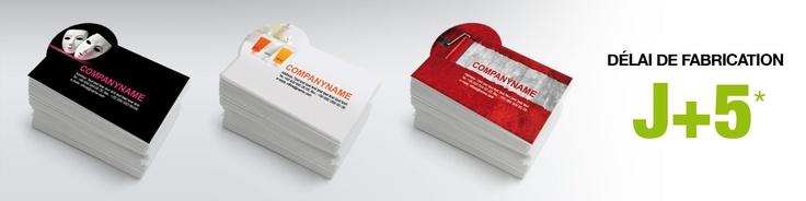 Carte de visite découpée en forme arrondie au format 8,5 x 5,5 cm. Carte proposée sur papier classique (ou couché) 350 g, papier recyclé (Cyclus offset blanc) 350 g et papier prestige (Rives Tradition extra blanc) 250 g.