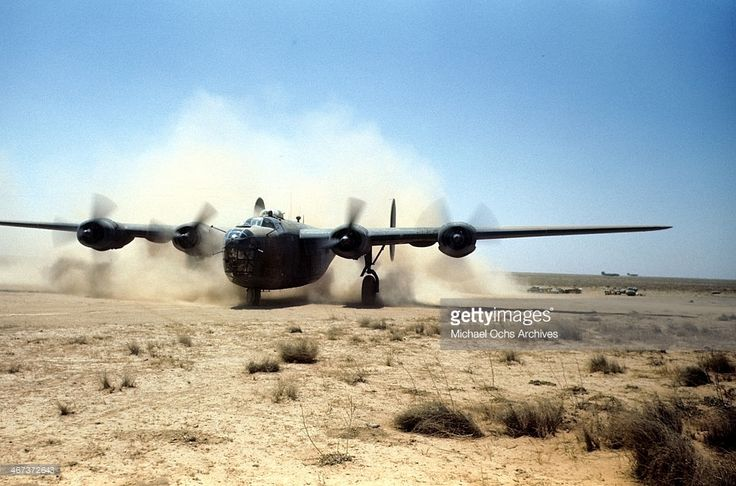 A view of the 389th Bombardment Group flying a B-24 Liberator at the U.S Air Force base in Benghazi, Libya.