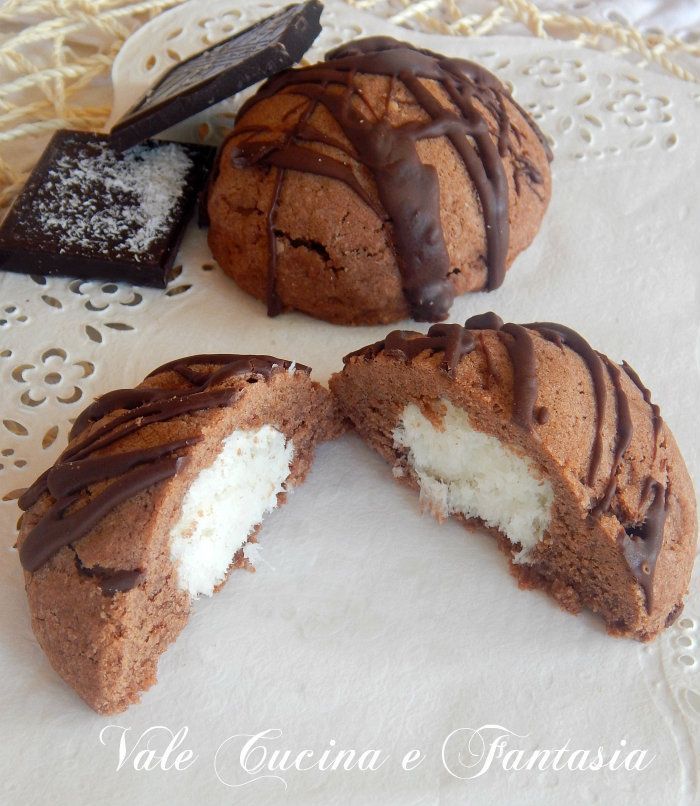 merendine al cacao con cuore al cocco