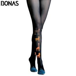 BONAS 3D Print Black Pantyhose Women Cartoon Cotton Tights Cute Animal