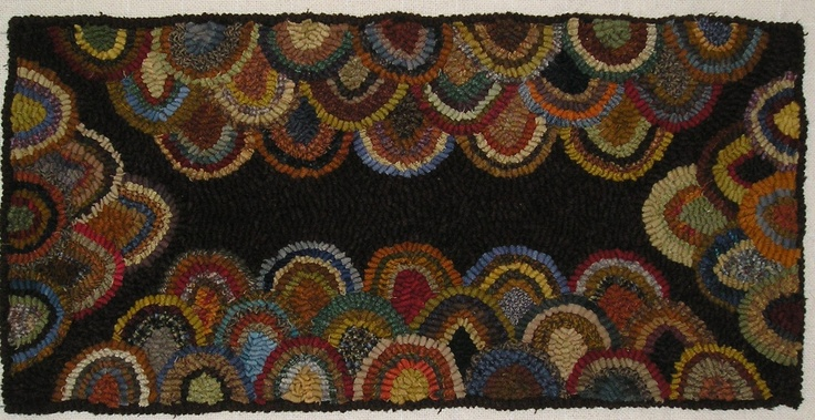 HAND HOOKED RUG ~ PRIMITIVE HIT N MISS CLAM SHELL RUG~ | eBay 165.00