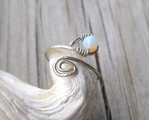 Opalite Wrapped Hammered Silver Wire Spiral Toe Ring Adjustable Size  Alpaca non tarnish Hammered Silver Wire 1mm Alpaca non tarnish Silver Wire 0.5mm Opalite Bead 4mm Toe Ring or Knuckle Ring  Handma