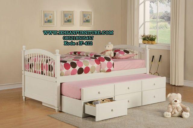 Tempat Tidur Anak Sorong Laci Minimalis Putih