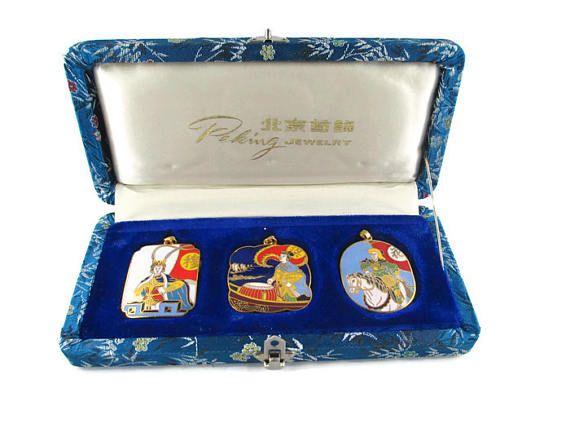 3 Chinese Opera Cloisonne  Pendants/The Peking Jewelry Company