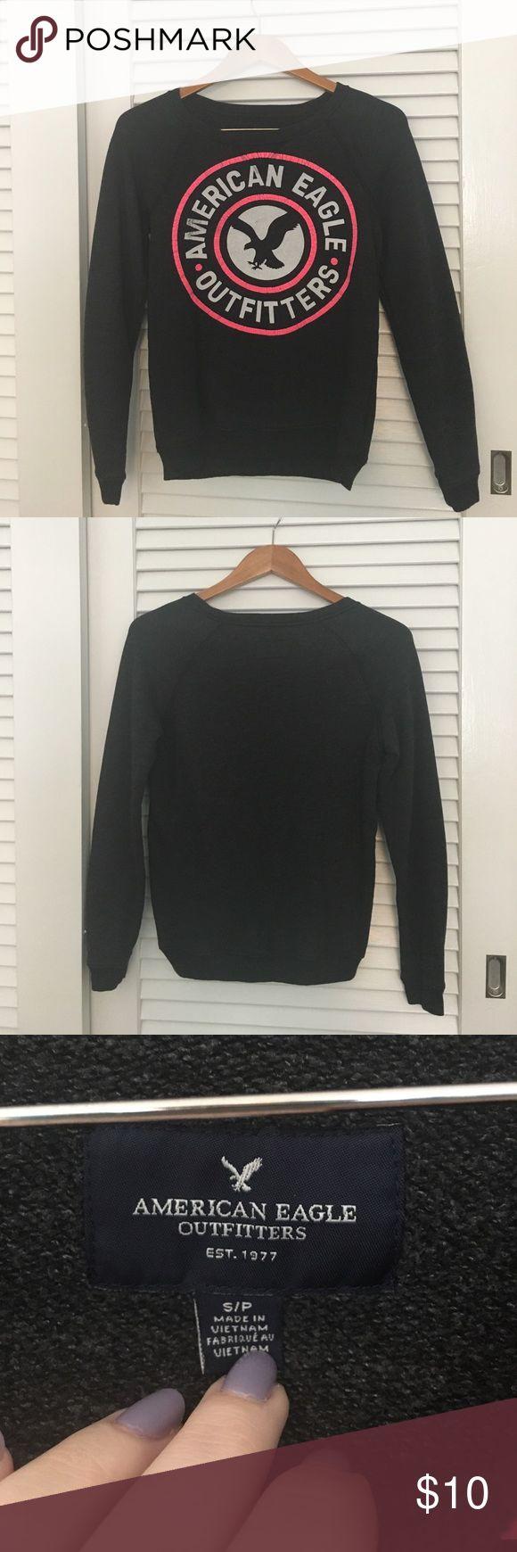 American Eagle Sweatshirt Lightweight charcoal grey sweatshirt, American Eagle logo on the front, plain back. Smoke free home. American Eagle Outfitters Tops Sweatshirts & Hoodies