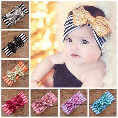 583348f5f1f6 Children hair accessories striped cotton headband cute sequins bow hairband  wholesale 11 color. Yesterday s price  US  2.56 (2.29 EUR).