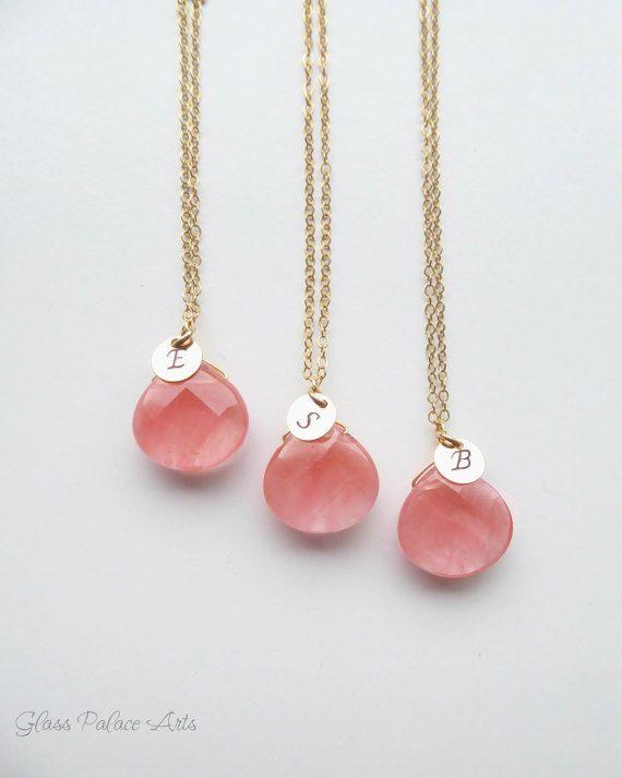 Koraal bruidsmeisje sieraden bruidsmeisje gepersonaliseerde geschenken, Pink Coral Necklace, bruidsmeisje ketting Set van 5, Set van 4, koraal huwelijksjuwelen