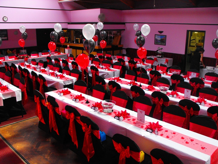 Black Chair Covers With Red Satin Bows