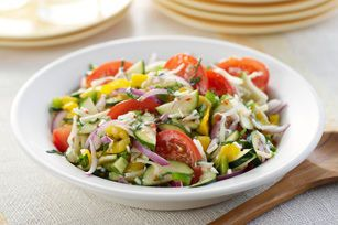 Top this colourful medley of summer vegetables with 4 cups of cooked chicken for a main-dish salad.
