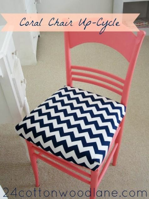 See how paint and a new fabric seat transformed this old chair. Click through for a full tutorial.