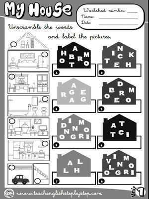 My house - Worksheet 2 (B&W version)