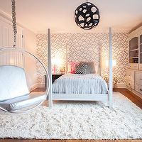 Lucy and Company - girl's rooms - pink and gray bedroom, pink and gray girls room, pink and gray girls bedroom, four poster bed, white four ...