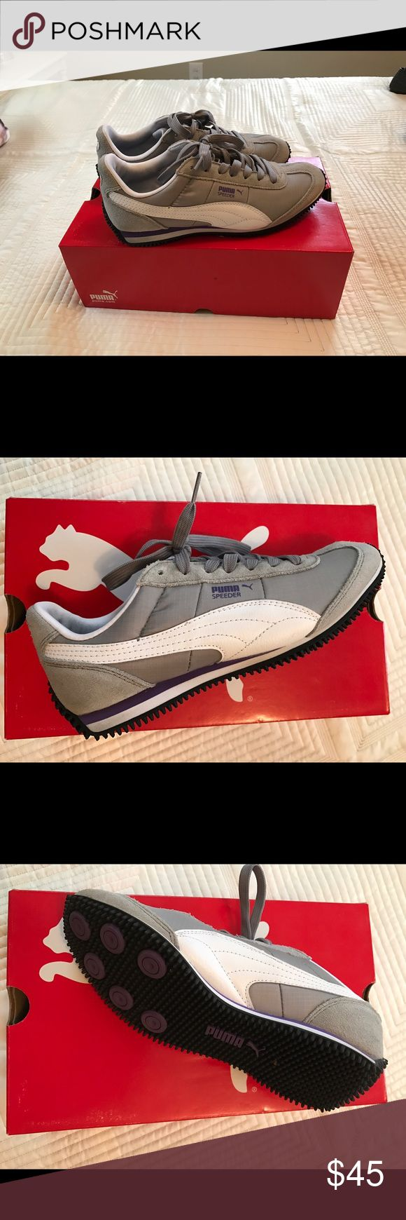 Women's Puma Speeder retro sneakers - never worn Original Puma Speeder shoes, size 6.5, gray, purple and white. Puma Shoes Athletic Shoes