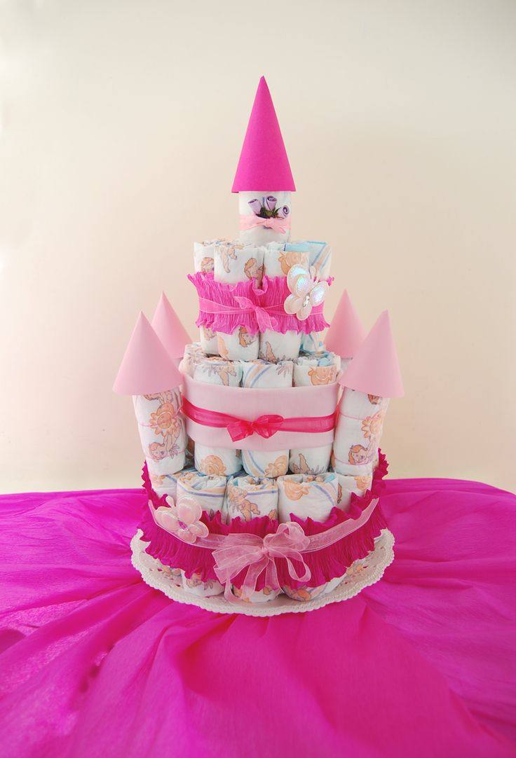 My diapercake, a wonderful pink castle for a little princess, Sara! ♡ - La mia torta di pannolini in rosa, un magnifico castello per una piccola principessa! :)