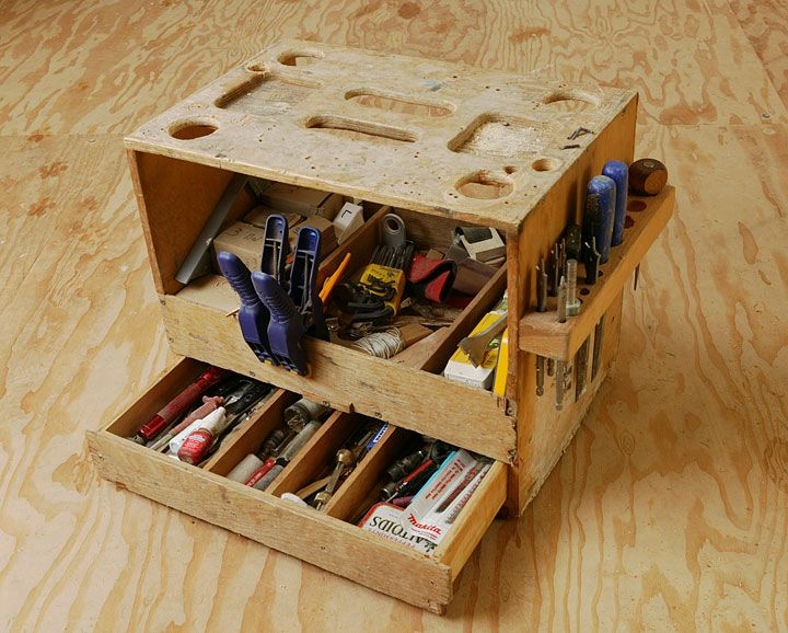 Gary Katz's Tool Tote is a more elaborate solution to the same problem as Tim Carter's Carpenter's Bench.