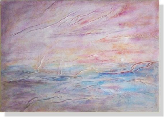 Ocean Sunset Painting Original Abstract Wall Art Blue Waves Seascape Leather Pai