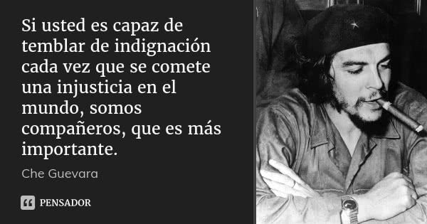 Si usted es capaz de temblar de indignación cada vez que se comete una injusticia en el mundo, somos compañeros, que es más importante.... Frase de Che Guevara.
