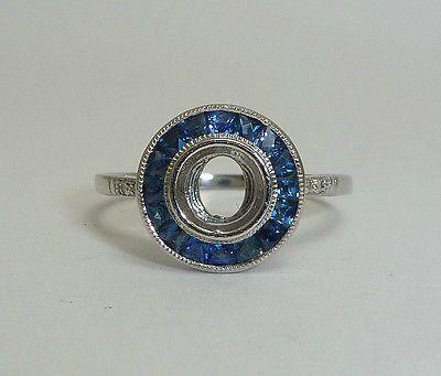 Art Deco Antiguo Platinum francés cortada zafiro y diamantes Halo de montaje ajuste