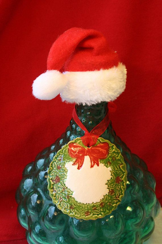 Christmas Wreath Wine Charm Label & Christmas Hat Mini Santa