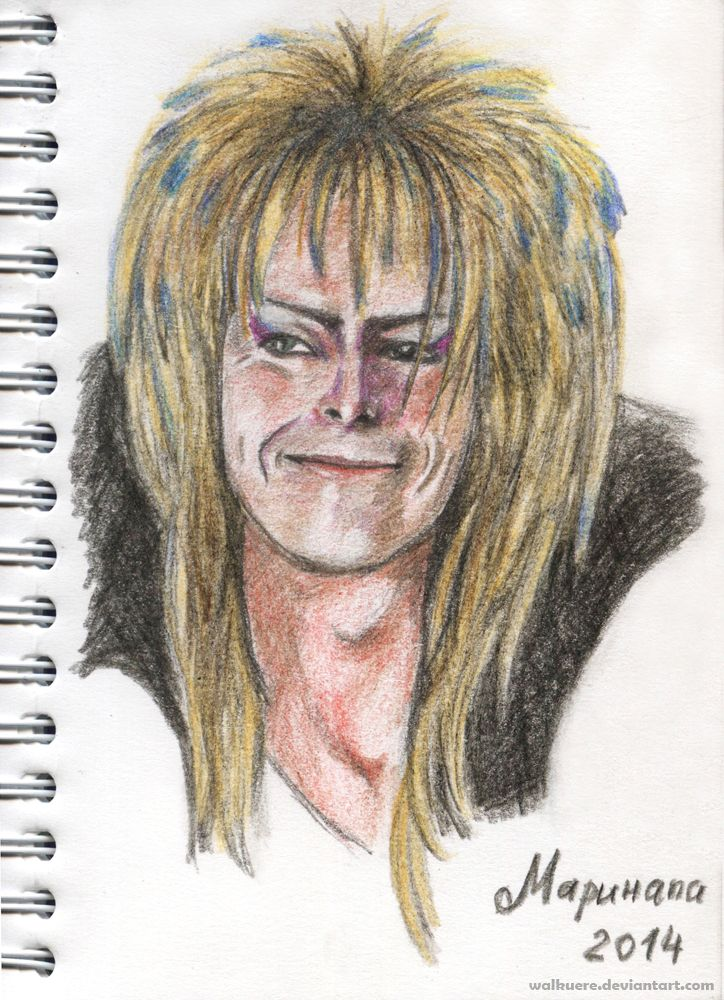 Goblin Smile. David Bowie as Jareth the Goblin King and his smile. :) Colored pencils, A6.
