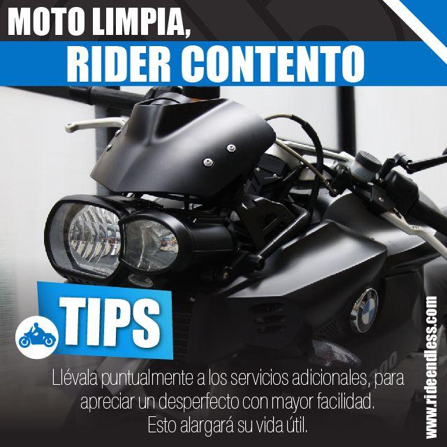 Moto limpia, rider contento. Más allá de presumir la belleza de tu moto, te servirá para apreciar un desperfecto con mayor facilidad. También llévala puntualmente a los servicios adicionales, esto alargará su vida útil.  #RideEndless #Tips #BMW #Motorrad #TipRideEndless