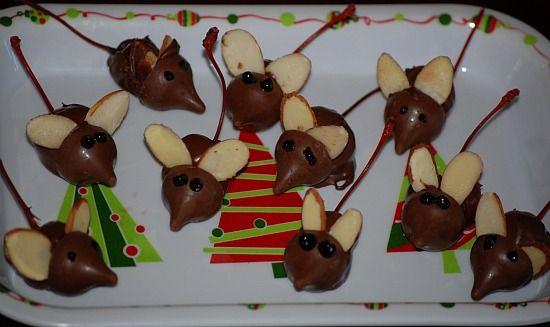 Mice! Christmas Food, Christmas Recipe, Chocolates Mice, Cherries Mice ...