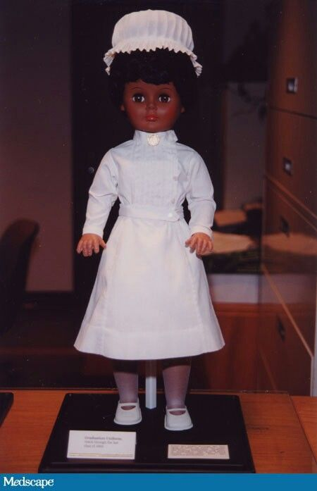 A doll wearing the full 1969 graduate nurse's uniform, including the cap. Image courtesy of the Foundation of New York State Nurses Bellevue Alumnae Center for Nursing History.