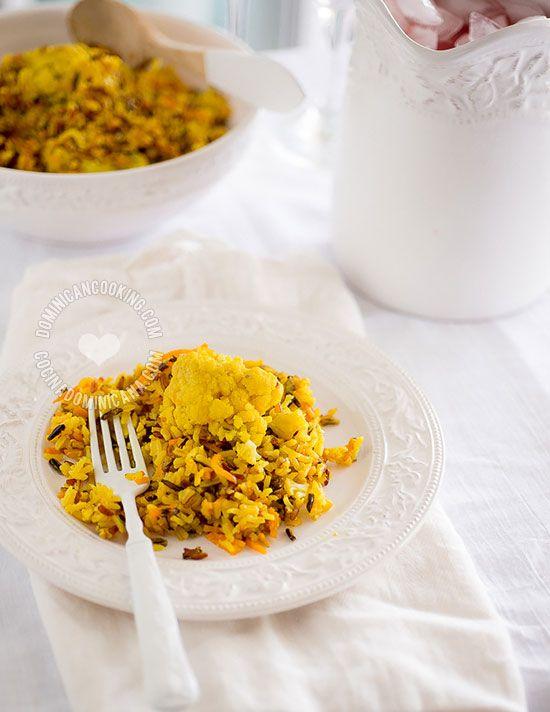 Receta Arroz Silvestre con Especias y Coliflor: incluye cuatro variedades de arroz en un plato llenísimo de sabor.