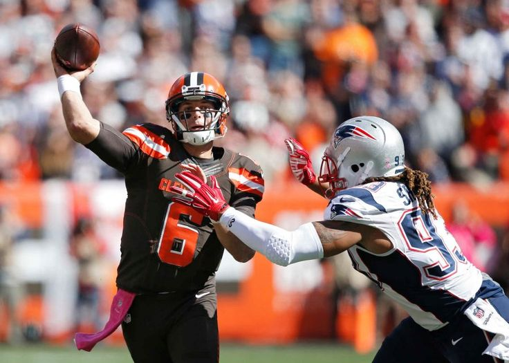 Patriots vs. Browns:     October 9, 2016   -  33-13, Patriots  -     Cleveland Browns quarterback Cody Kessler (6) passes against New England Patriots defensive end Jabaal Sheard in the first half of an NFL football game Sunday, Oct. 9, 2016, in Cleveland.
