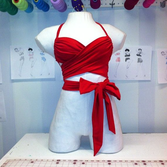 The Wrapkini top is a one size fits all by TaniThompson on Etsy, $60.00