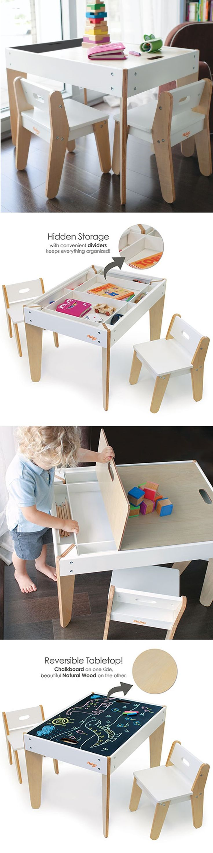 P'kolino Little Modern Children's Table with reversible top and built in storage compartment.  This toddler table has reversible chalk table top (to quickly hide any mess) and two ergonomic child chairs. Playfully stylish design fits bedroom, playroom or