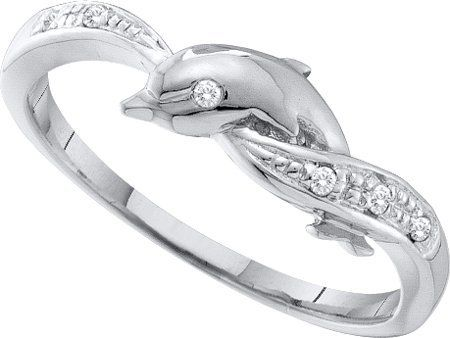 engagement ring real 004ctw diamond dolphin ring promise new 10k white gold - Dolphin Wedding Rings