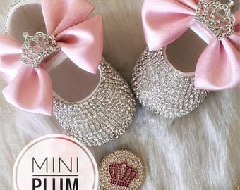 Handmade Swarovski Crystals Crown Pink Baby Shoes and Pacifier Clip Baby Gift Set/ Luxury Baby Gift /Gifts for Baby Girl / Bling Baby Shoes